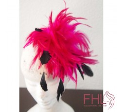 Fascinator Plumes Fuschia Noir