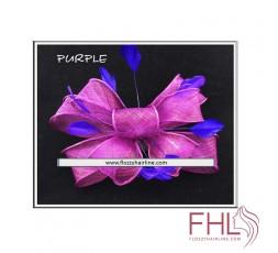 Accessoire de Coiffure Fascinator Tulle Violet et Plumes Violet