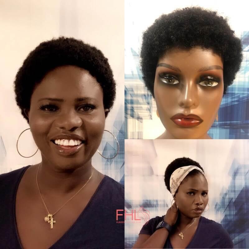FHL Perruque Afro Courte fait main