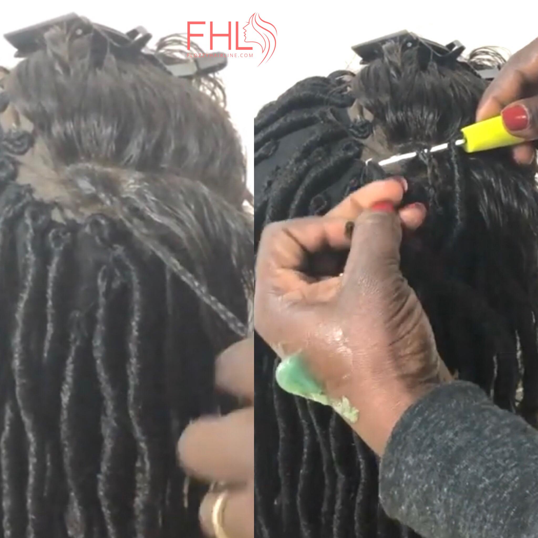 la technique pour creer une perruque faux locs avec un lace frontal